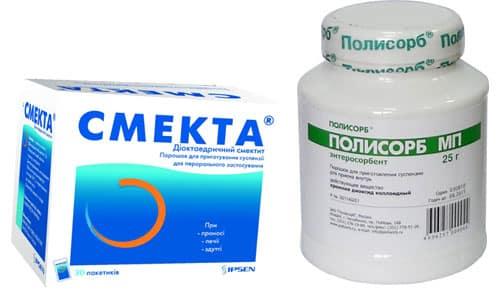 Препараты Полисорб и Смекта назначаются при отравлениях, кишечных инфекциях