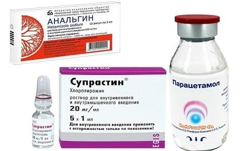Для купирования жара применяют литическую смесь, в состав которой входят Парацетамол и Анальгин и Супрастин