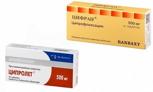 К воспалительному процессу может привести различная патогенная микрофлора. Препараты, оказывающие направленное действие на ее устранение - это Цифран и Ципролет