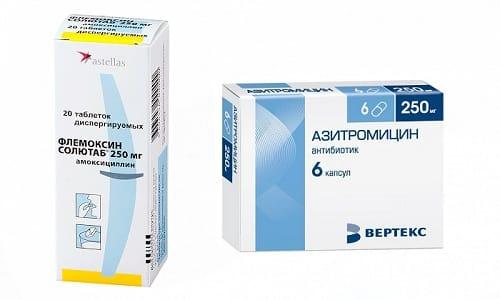 Антибиотики Азитромицин или Флемоксин Солютаб назначаются только в том случае, если у пациента развились осложнения на фоне присоединения вторичной инфекции