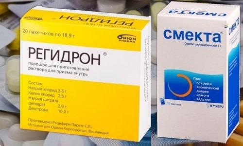 При отравлениях и инфекционных расстройствах часто применяют Регидрон и Смекту